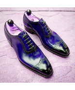 Blue Oxford Genuine Patent Leather Rounded Cut Toe Handmade Men Party Shoes - $139.99+