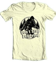 Big Foot T-shirt Don't Stop Believing Sasquatch funny 80's cotton graphic tee image 1
