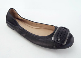Franco Sarto Size 7.5 Elegance Black Leather Ballet Flats Shoes 7 1/2 - $30.60