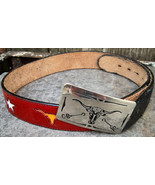 Chambers Nocona Red Leather Western Theme Belt an Buckle Longhorn Steer ... - $31.00