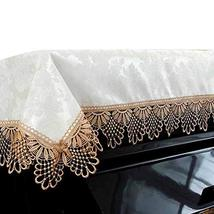 Beige Dustproof Piano Cloth Piano Cover Old Gold Lace Upright Piano Dust Cover