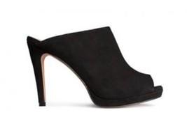 acb74e80b8ea New H amp M 100% Suede Black Open Toe High Heel Platform Mules Slides 8 · New  H M ...
