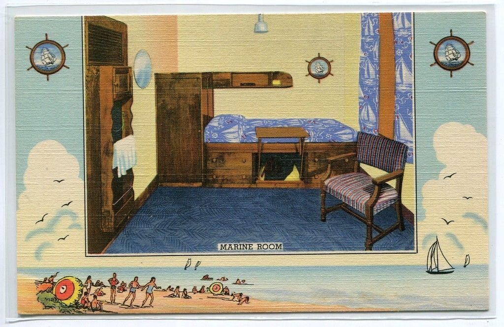 Primary image for Marine Room Bedroom Interior YMCA Hotel Chicago Illinois linen postcard