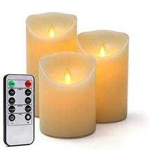 Flameless LED Candles 3-Pack H 4''5''6'' x D 3.25'' Moving Wick Real Wax... - $19.54