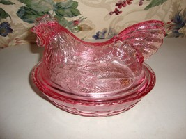 Longaberger Glass Hen Dish Only Pink Covered Hand Crafted Easter Basket ... - $26.68