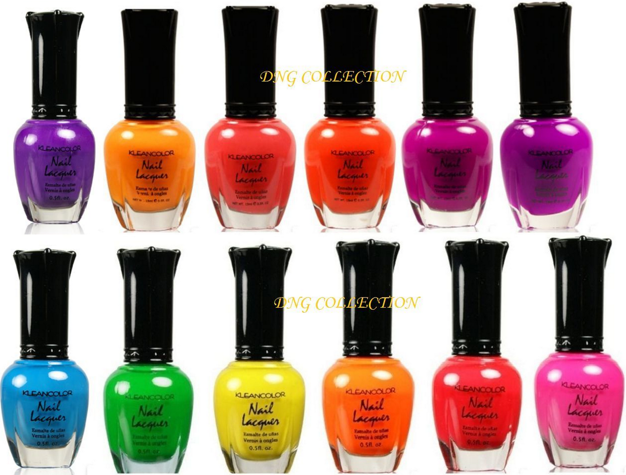 Kleancolor Bay of Colorfall Carribean NEON 12 pcs Lot Nail Polish blue pink k31, used for sale  USA