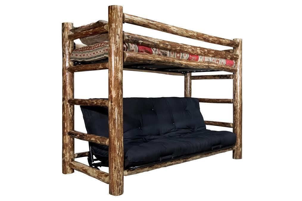LOG TWIN OVER FUTON Bunk Bed Rustic Lodge Cabin Bedroom Furniture for sale  USA