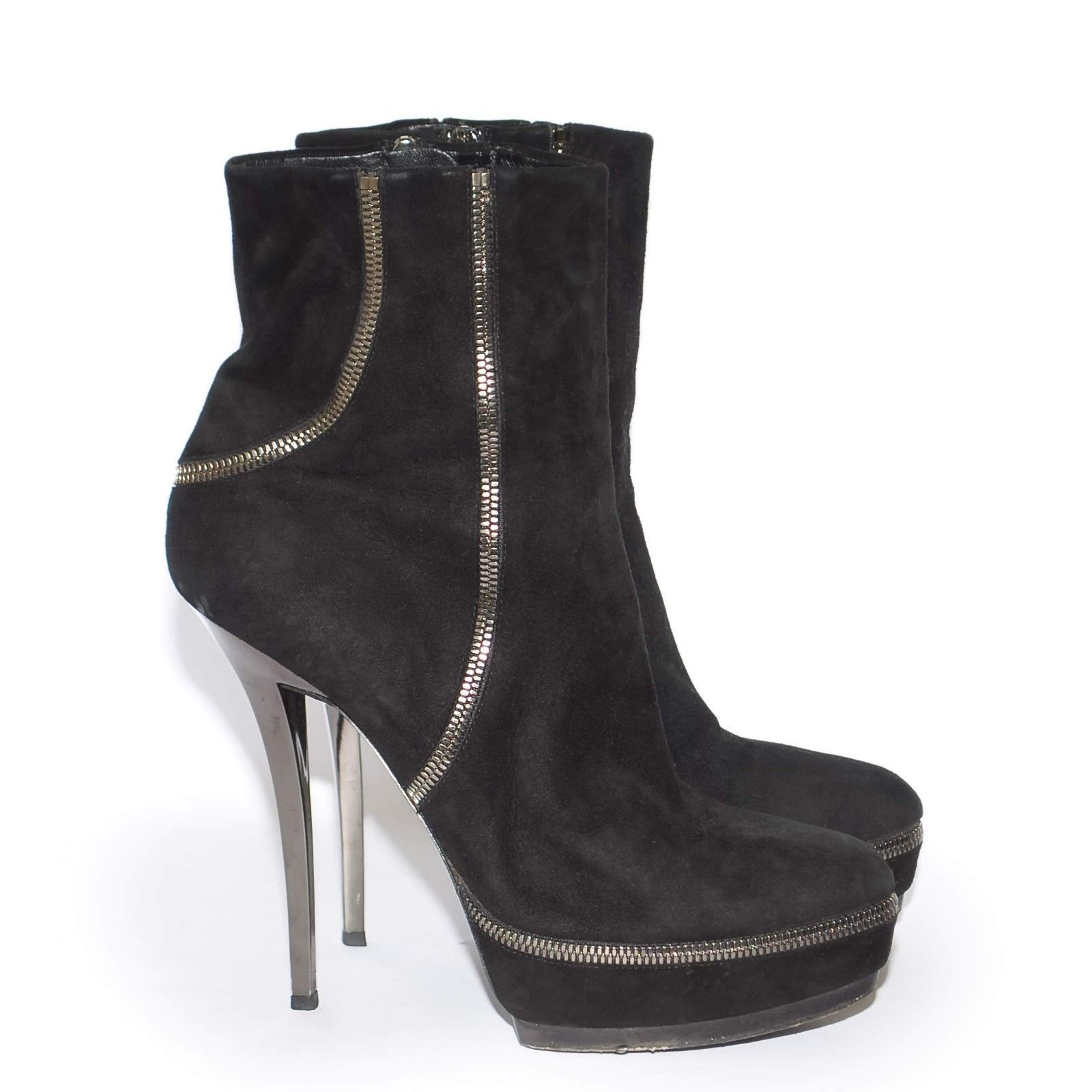 ff84b11111d GUCCI Black Suede High Heels Ankle Boots Stilettos Platform Zip Up Booties  US 8 -  275.51