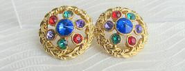 Vintage Mogul Cobalt Blue Rivoli Green Red Purple Rhinestones Earrings G... - $15.30