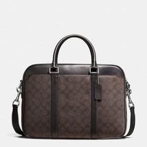 NWT COACH Men's Signature PVC Slim Business Briefcase F54803 BROWN/BLACK... - $199.99