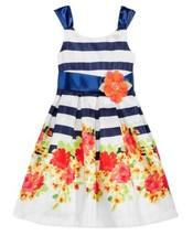 Bonnie Jean Floral-Print Striped Party Dress (Navy/White, 16) - $28.22