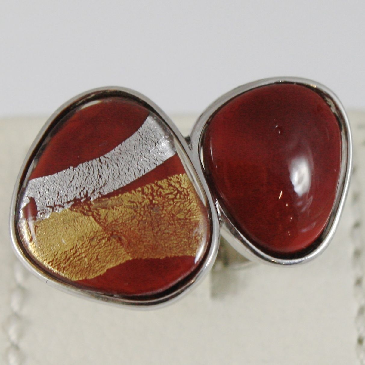 ANTICA MURRINA VENEZIA STRIPED RING WITH RED, SILVER AND GOLD DROPS, SIZABLE