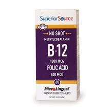 Superior Source No Shot Methylcobalamin B12 with Folic Acid Multivitamin, 60 Cou