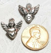 ANGEL WITH HEART FINE PEWTER PENDANT CHARM image 2