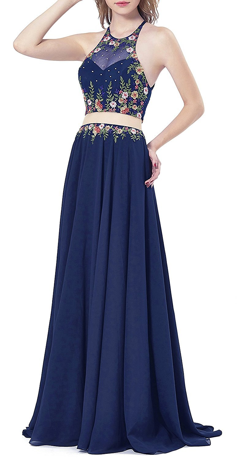 Womens 2018 Halter Embroidery Navy Homecoming Dresses 2 Piece Long Prom Dress