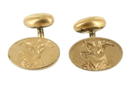 Antique GF Deer Stag Antlers Hunting Victorian Engraved Gold Filled Cufflinks - $116.99
