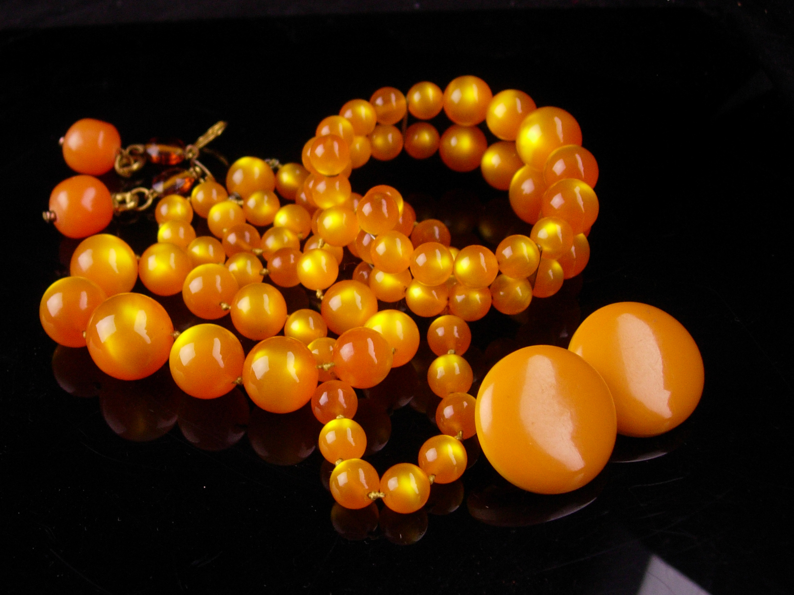 Vintage moonglow necklace set  / orange amber earrings / marigold bracelet