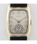 Hamilton Tonneau Rempli D'or Remontage Watch W / Bracelet Cuir 982 - $376.97