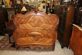 French Antique Carved Walnut Louis XV Full Size Bed | Bedroom Furniture - $2,070.00