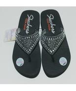 Skechers 38494 Yoga Foam Flip Flops Color Black Clear Rhinestones - £35.68 GBP