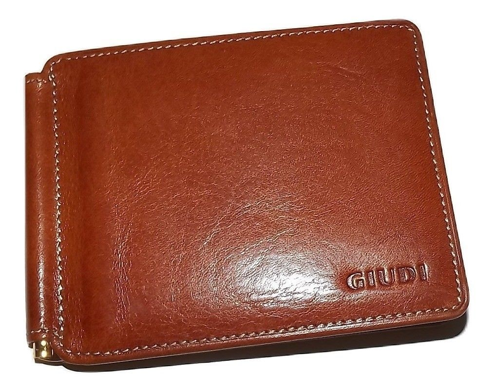 Primary image for NEW GIUDI ITALIE MEN'S TUSCAN LEATHER BIFOLD 6 POCKET MONEY CLIP WALLET COGNAC