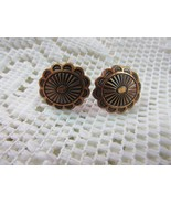 VINTAGE SILVER TONE RUST COLOR SCREWBACK BUTTON EARRING - $11.85
