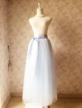 LIGHT BLUE Maxi tulle skirt Plus Size Wedding Petticoat Skirt 3 layer NWT image 6