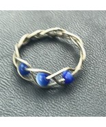 Estate Braided Nonmagnetic Silver w Tiny Blue Moonglow Beads Band Ring S... - $11.29