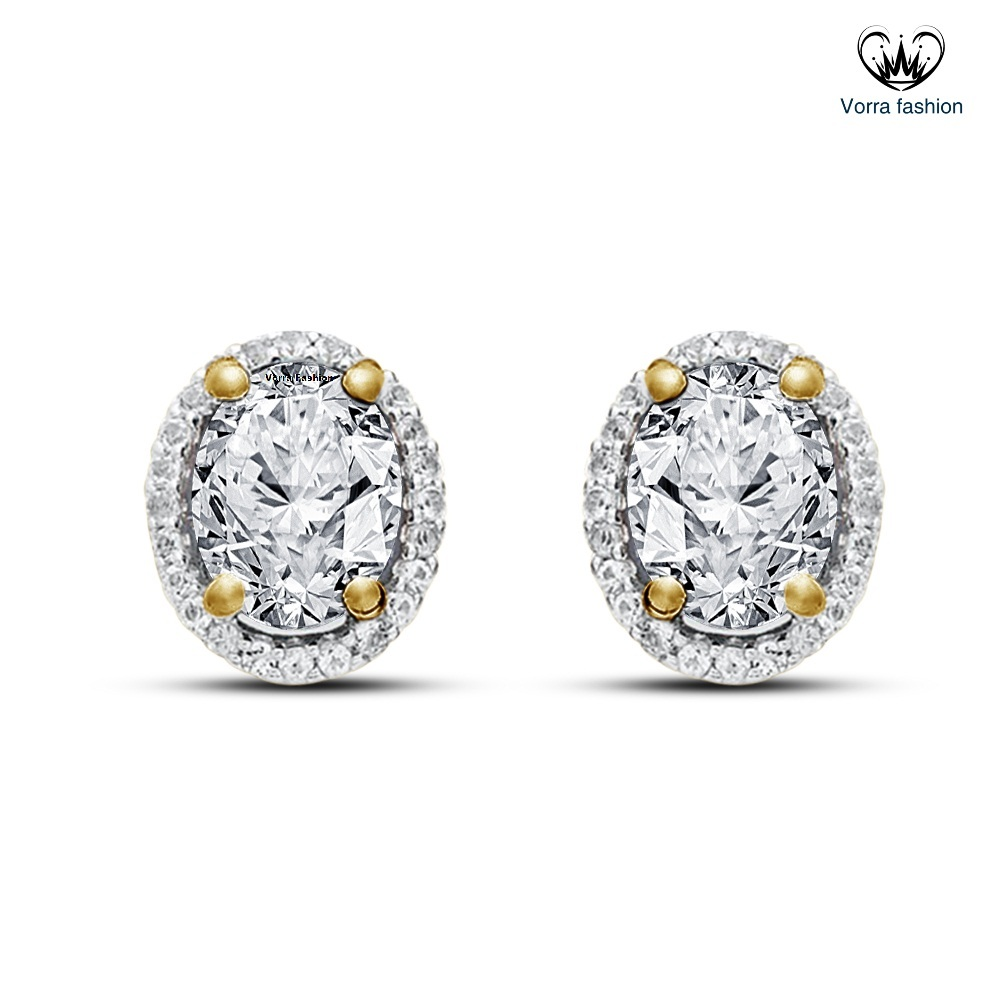 Primary image for Oval Shape Stud Earrings In White CZ 14k Yellow Gold Plated 925 Sterling Silver