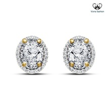Oval Shape Stud Earrings In White CZ 14k Yellow Gold Plated 925 Sterling... - $37.99