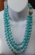 Vintage Triple Strand Ocean Blue Carved Plastic Bead Necklace - $44.55
