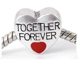 'Together Forever Love ' Heart Charm Bead For Snake Chain Charm Bracelet - $24.86