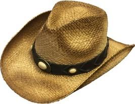 Henschel Raffia Aussie Cowboy Cowgirl Shapeable Ivory Colored Conchos N... - $50.00