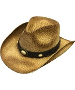 Henschel Raffia Aussie Cowboy Cowgirl Shapeable Ivory Colored Conchos N... - $43.00