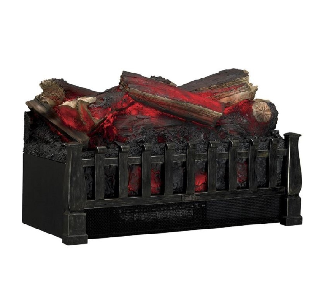Fireplace Log Set LED Electric Zonal Heating Rolling Flame Kid Pet Safe Remote