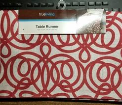 """True Living Polyester Table Runner Red/White NEW 72"""" x 13"""" - $9.89"""