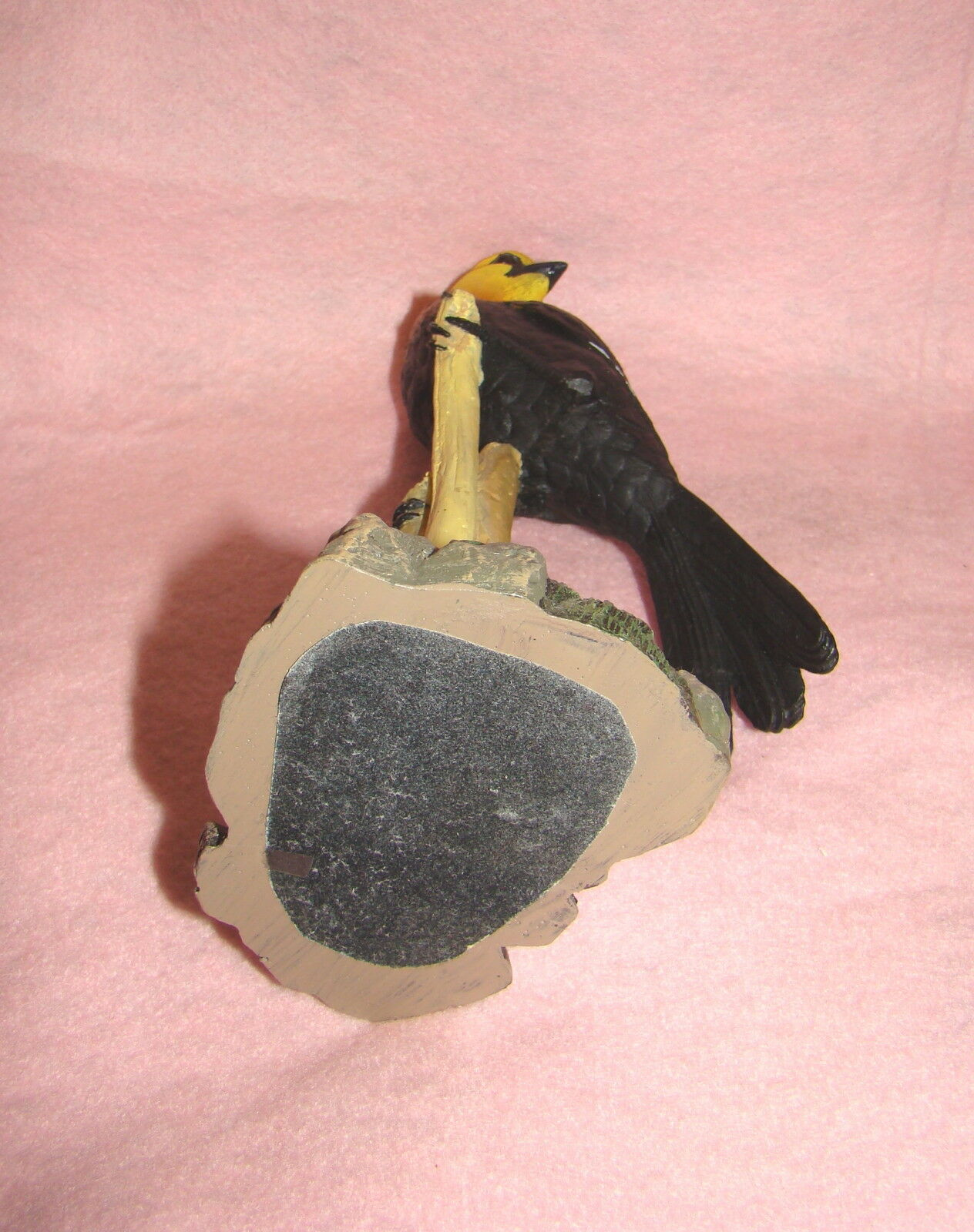 Beautiful Big Black, Orange and Yellow Bird on Tree Branch, Collectible Figurine