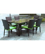 CC Outdoor Living 7-Piece Black Wicker Furniture Patio Dining Set Green ... - $1,290.70