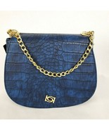 Bebe Michelle Saddle Bag Indigo Blue Purse Snakeskin Print NWT - $39.90