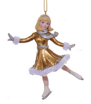 "KSA 5"" GOLD & SILVER RESIN ICE SKATING GIRL FIGURE SKATER XMAS ORNAMENT ... - $12.88"