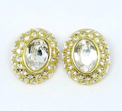 Monet Clear Rhinestone Gold Tone Post Earrings - $13.86
