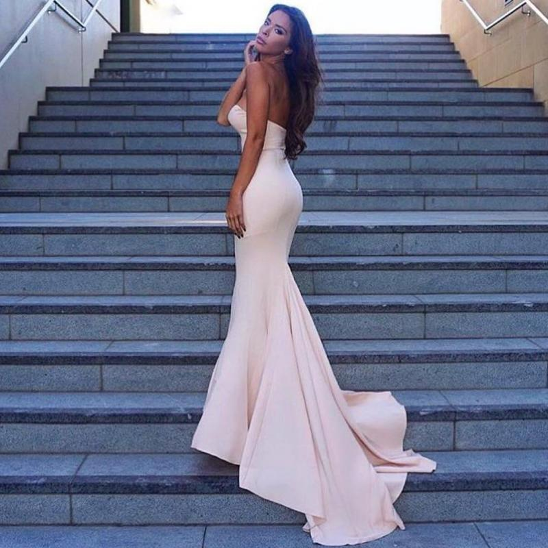 Sweetheart Pink Prom Dress Long Mermaid Formal Evening Gown Party Dress Cheap