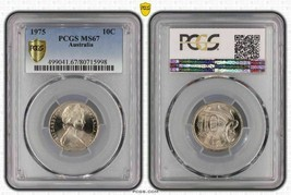1975 AUSTRALIA 10 CENTS  PCGS MS67 ONLY 6 COINS GRADED HIGHER - $19.92