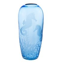 Beachcombers Tall Vase w/Etched Sea Life