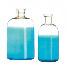 Set of 2 Blue Glass Bottle Vases Small Bottleneck Opening - $25.17