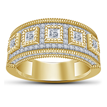 White Princess Cut Diamond Gents Heavy Band Ring 14k Yellow Gold Over 925 Silver - $91.99