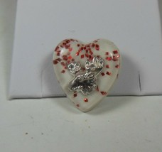 Vintage Lucite Heart Pin Brooch w/ Moose - $10.88