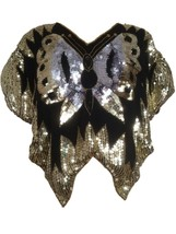 80s Sequinned Gold Silver Black Butterfly Bat Wing Disco party Sparkling... - $36.00