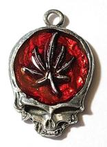 MARIJUANA LEAF SKULL Fine Pewter Pendant Approx. 1-1/2 inches wide image 9