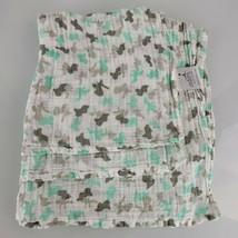 Aden + Anais Mint Green Aqua Blue Gray White Camo Muslin Cotton Baby Bla... - $21.01